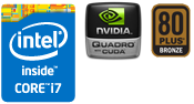 Intel Core i7、Quadro、80PLUS BRONZE認証電源搭載