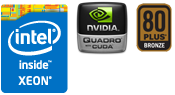 Intel XEON、Quadro、80PLUS BRONZE認証電源搭載